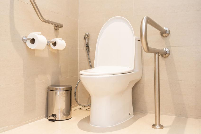 Plombier à Caen installe des barres de maintien dans les WC